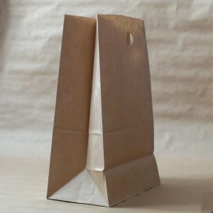 Упаковка пакет бумажный 410*280*160 прямоуг дно с прорубной ручкой крафт
