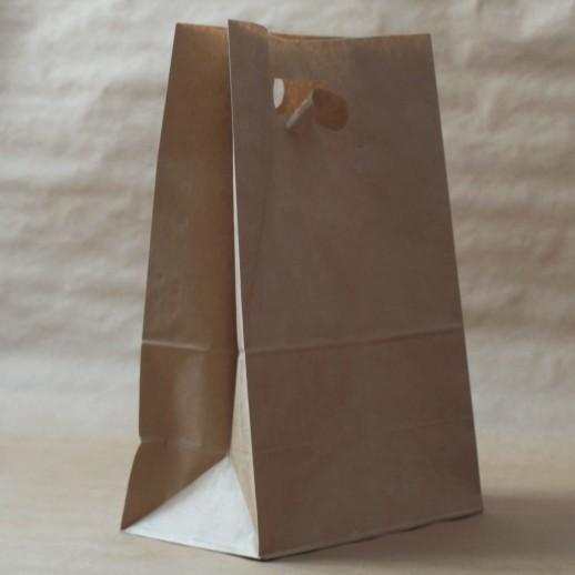 Упаковка пакет бумажный 410*280*160 прямоуг дно с прорубной ручкой крафт, Картонная упаковка, бумажные крафт пакеты
