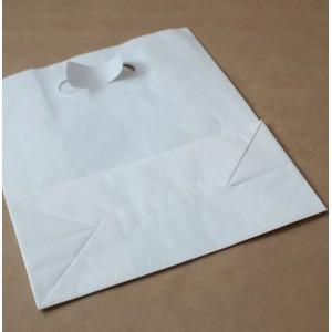 Упаковка пакет бумажный 320*250*140 прямоуг дно с прорубной ручкой белый , Картонная упаковка, бумажные крафт пакеты