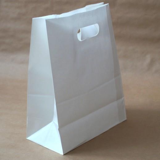 Упаковка пакет бумажный 370*250*130 прямоуг дно с прорубной ручкой белый , Картонная упаковка, бумажные крафт пакеты