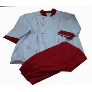 Костюм двубортный куртка белая+брюки красные Тиси