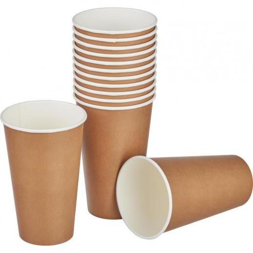 Стакан одноразовый для кофе КРАФТ 400 мл 50 шт 10622, Одноразовая посуда, пластиковые контейнеры