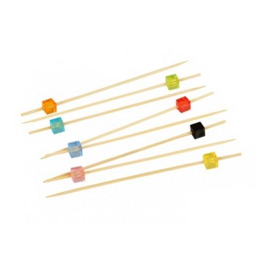 Пика 12 см Кристаллы квадратные бамбук 100 шт 10-1140, Украшения для коктейлей и канапе, трубочки