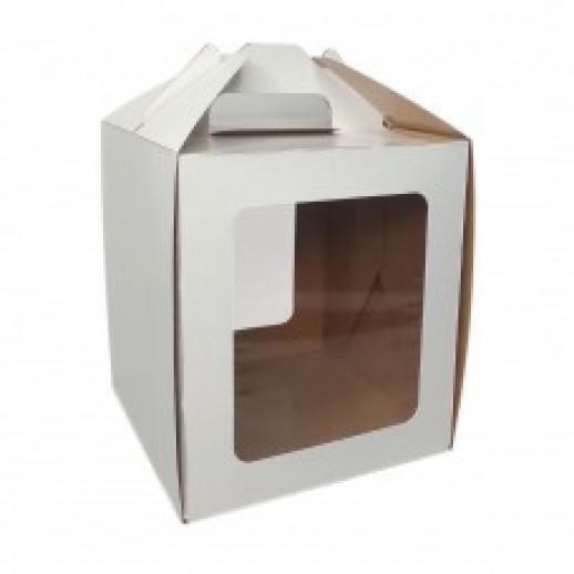 Короб для куличей с ручкой, окном 160*160*180мм, Тортницы, коробки для торта и пирожных