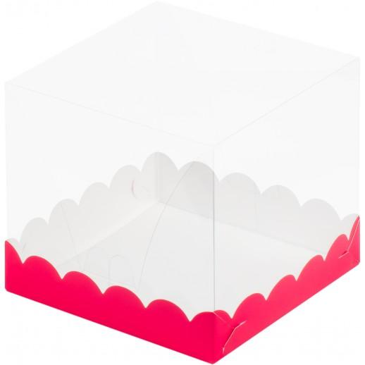 Короб под торт прозрачный купол 150*150*140 (красная) 022076, Тортницы, коробки для торта и пирожных