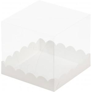 Короб под торт прозрачный купол 150*150*140 (белая) 022100