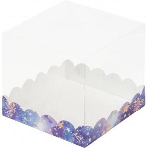 Короб под торт прозрачный купол 150*150*140 (звездное небо) 022176