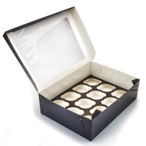 Упаковка для капкейков на 12 шт ОКНО Black Edition