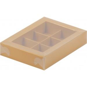 Упаковка для конфет с пластик крышкой 155*115*30 мм (6) золото 051043