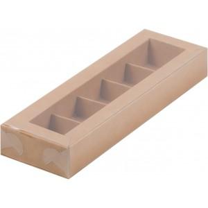 Упаковка для конфет с пластик крышкой 235*70*30 мм (5) крафт 051022
