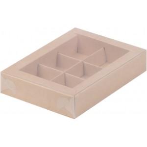 Упаковка для конфет с пластик крышкой 155*115*30 мм (6) крафт 051052