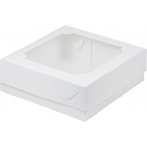Упаковка для печенья и зефира с окном белая 200*200*70 мм 070210