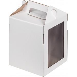 Упаковка под пряничный домик белая гофра 160*160*200 мм 020800