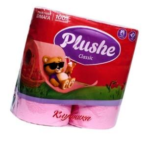 Туалетная бумага Плюше 2-х слойная в ассорт 4 шт 12/уп