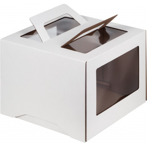 Короб картонный 26*26*26 см БЕЛЫЙ прозрачное окно 0060, Картонная упаковка, бумажные крафт пакеты
