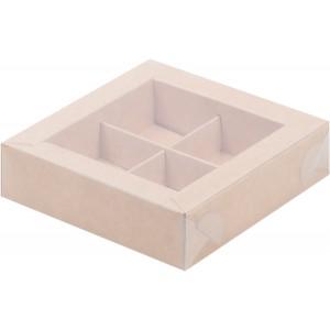 Упаковка для конфет с пластик крышкой 115*115*30 мм (4) крафт 051012