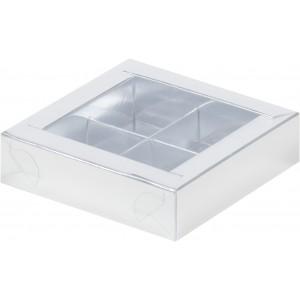 Упаковка для конфет с пластик крышкой 115*115*30 мм (4) серебро 051002