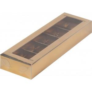 Упаковка для конфет с пластик крышкой 235*70*30 мм (5) золото 051024