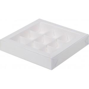 Упаковка для конфет с пластик крышкой 155*155*30 мм (9) белая 050061