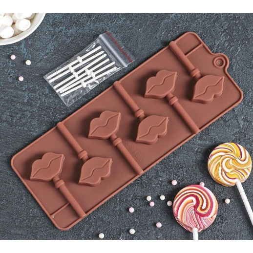 Форма для леденцов и мороженого Поцелуй 6 яч (4*2,4см) 2570351, Pavoni, Silikomart силикомарт формы для муссовых тортов силиконовые