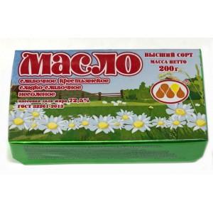 Масло сливочное Крестьянское 72,5% 200гр ТМ Юговск