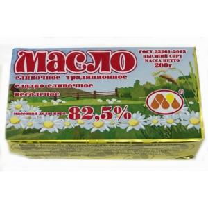 Масло сливочное Крестьянское 82,5% 200гр ТМ Юговск