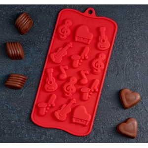 Форма для шоколада 14 яч Музыкальные инструменты (21,5*10*1 см) 4324219
