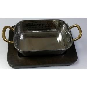 Сковорода 14,5*9,5*4,5 см на деревянной подставке PL 73038068