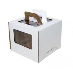 Короб картонный 18*18*15 см БЕЛЫЙ прозрачное окно 6013