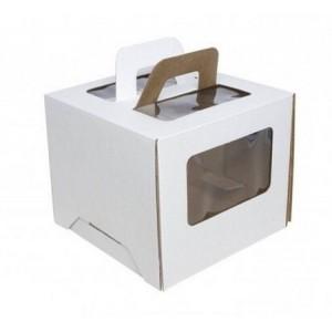 Короб картонный 22*22*16 см БЕЛЫЙ прозрачное окно