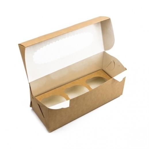 Упаковка для капкейков ECO MUF 3 100*250*100 мм, Тортницы, коробки для торта и пирожных