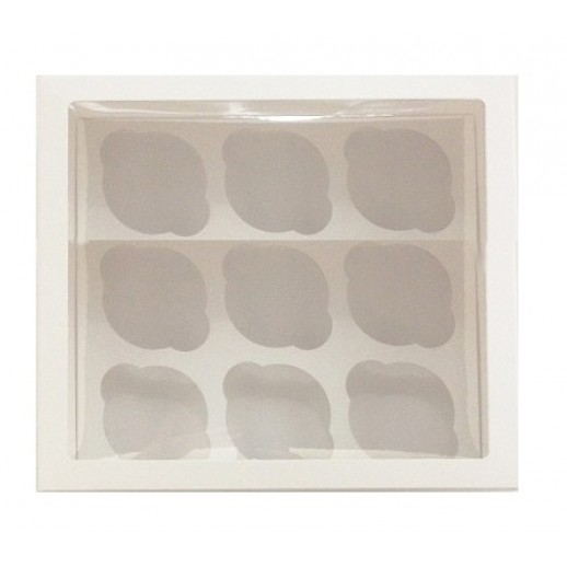 Упаковка для капкейков на 9 шт ОКНО 250*250*100 мм, Тортницы, коробки для торта и пирожных