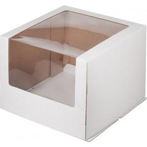 Короб картонный БЕЛЫЙ с окном 260*260*210 мм гофрокартон 020700