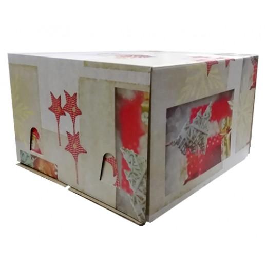 Короб картонный 300*300*190 НОВОГОДНИЙ 028400, Тортницы, коробки для торта и пирожных