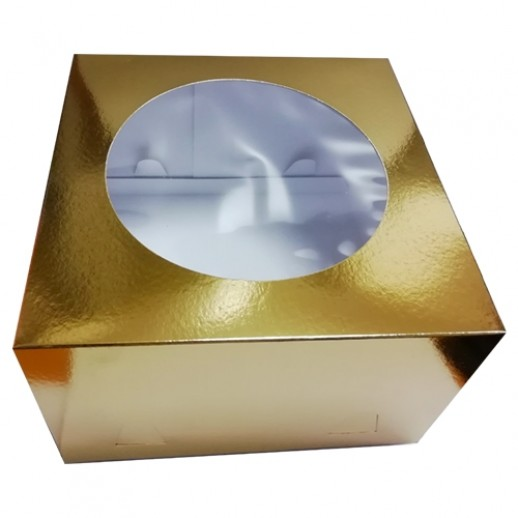 Короб картонный ЗОЛОТО с окном 260*260*180 мм 012600, Тортницы, коробки для торта и пирожных