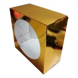 Короб картонный ЗОЛОТО с окном 240*240*180 мм 011400