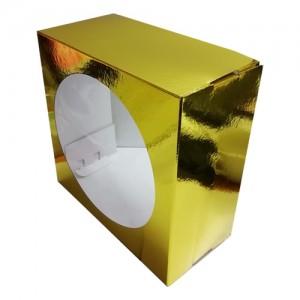 Короб картонный ЗОЛОТО с окном 240*240*120 мм 010200