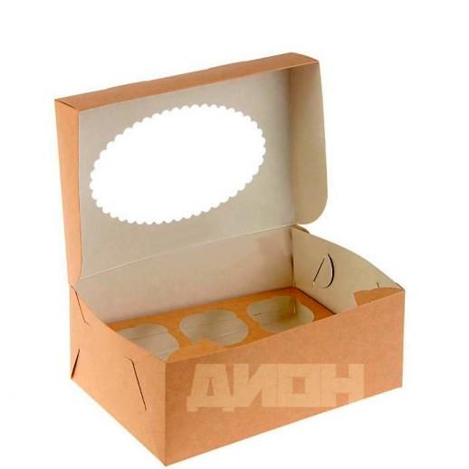 Упаковка для капкейков ECO MUF 6 250*170*100 мм, Тортницы, коробки для торта и пирожных