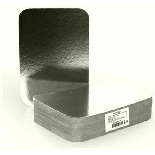Крышка для алюмин формы 410-005 серебро/картон 21,3-12,2 см 100 шт 402-772, Формы для выпечки торта, кексов, хлеба