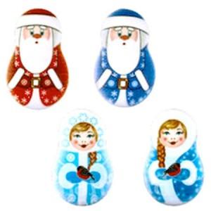Сахарная фигурка плоские Дед Мороз и Снегурочка d 3,5 см 62134