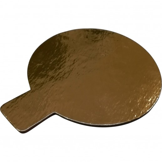 Подложка золото/золото круг №8 с ручкой 100 шт 64161, Подложки и подносы для тортов
