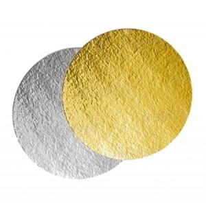 Подложка картон. круг №15 золото/серебро 64149