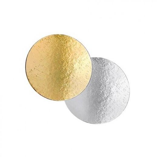 Подложка картон. круг №20 золото/серебро 64152, Подложки и подносы для тортов