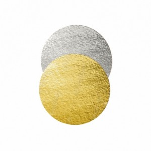 Подложка картон. круг №22 золото/серебро 64153