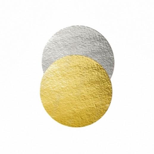 Подложка картон. круг №22 золото/серебро 64153, Подложки и подносы для тортов