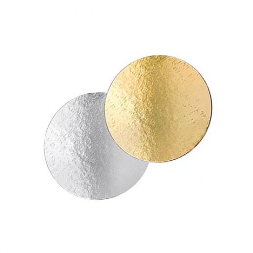 Подложка картон. круг №24 золото/серебро 64154, Подложки и подносы для тортов