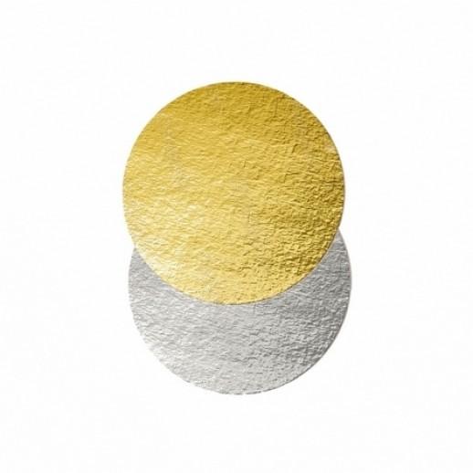 Подложка картон. круг №28 золото/серебро 64156, Подложки и подносы для тортов