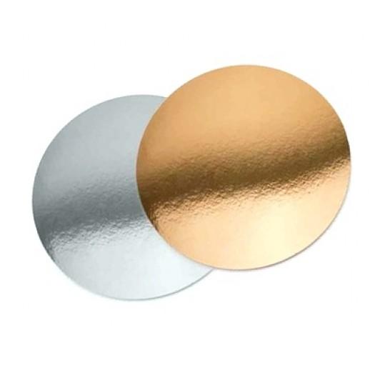Подложка картон. круг №12 золото/серебро, Подложки и подносы для тортов
