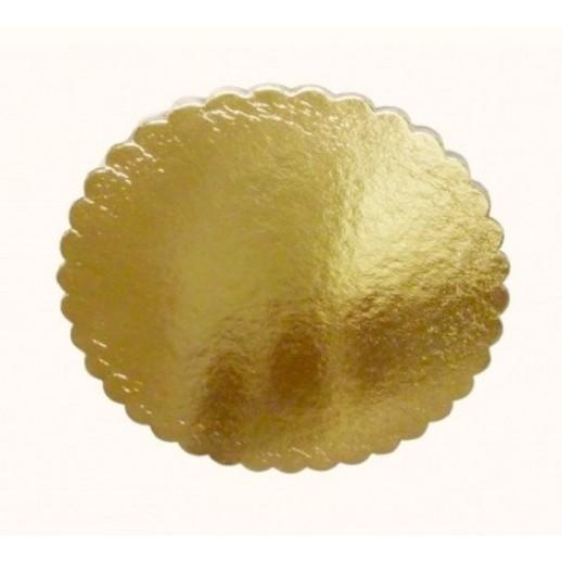Подложка усилен золото/розовая ажур 260 мм (толщ 3,2), Подложки и подносы для тортов