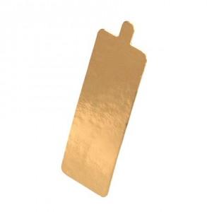Подложка золото/картон прямоугольник 90*55 мм с ручкой 100 шт 64112